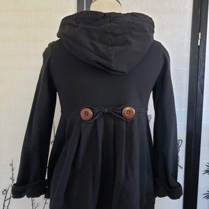 [Piko 1988] Black Pleated Zip-Up Hoodie Jacket